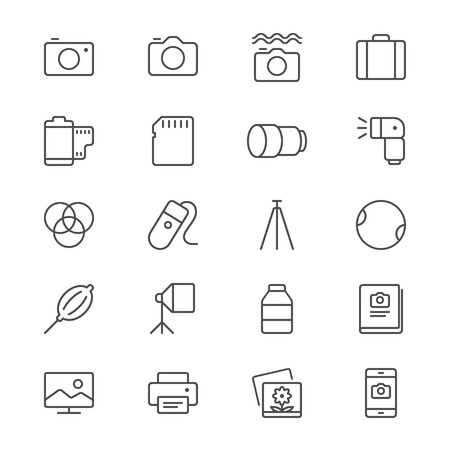 telephone box: Photography thin icons