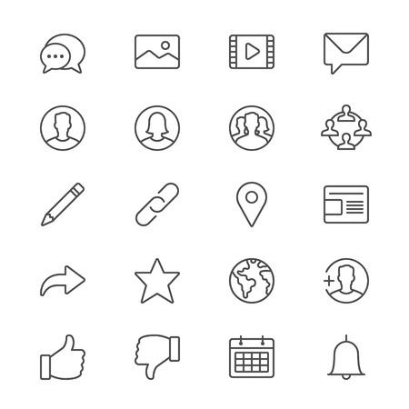 Sociaal netwerk dunne pictogrammen