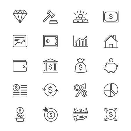 house exchange: Business and investment thin icons