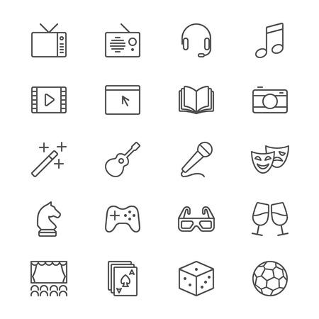 Entertainment thin icons Illustration