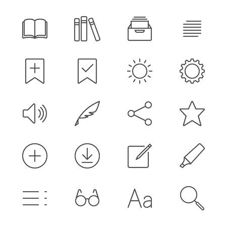 reader: E-book reader thin icons