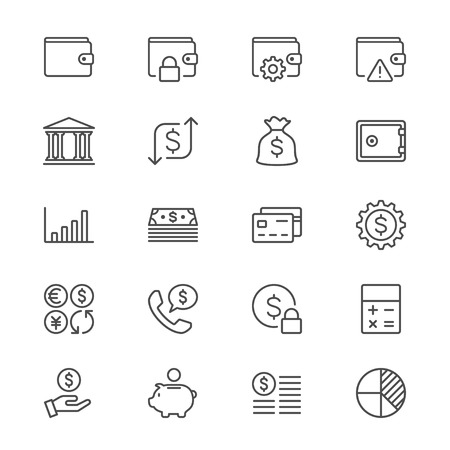 financial symbols: Financial management thin icons