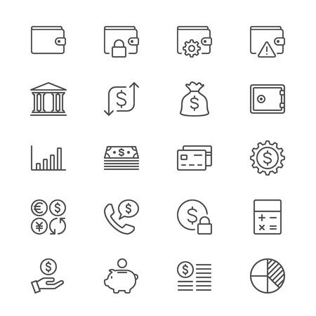 Financieel beheer dunne pictogrammen