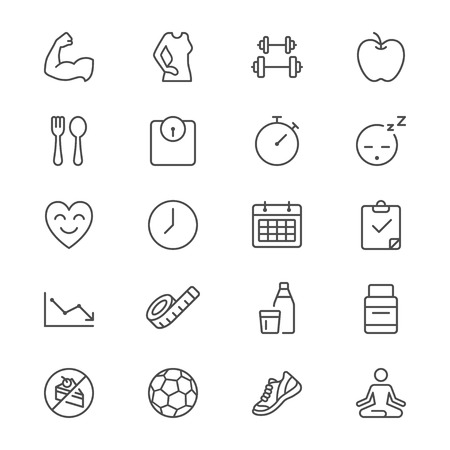 Gezondheidszorg dunne pictogrammen