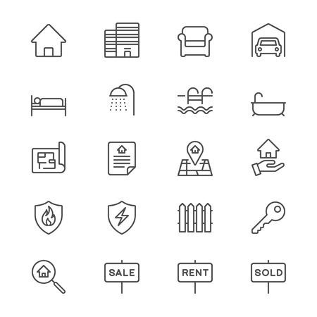 Immobilier icônes minces Vecteurs