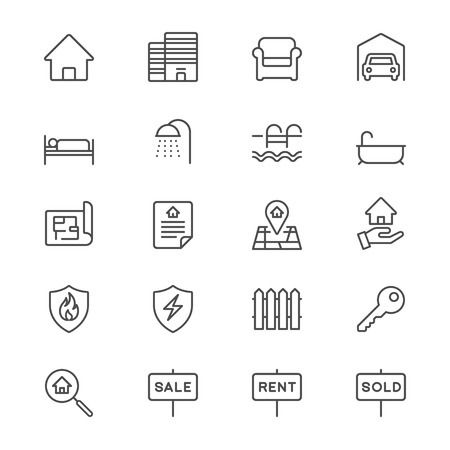 real estate icons: Real estate thin icons
