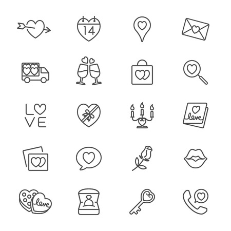 diamond candle: Valentine day thin icons