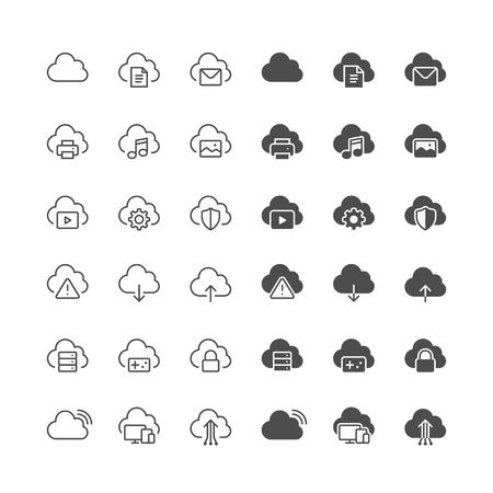 Cloud computing iconen, inclusief normale en mogelijk te maken staat.