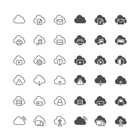 printer icon: Cloud computing icons, included normal and enable state.