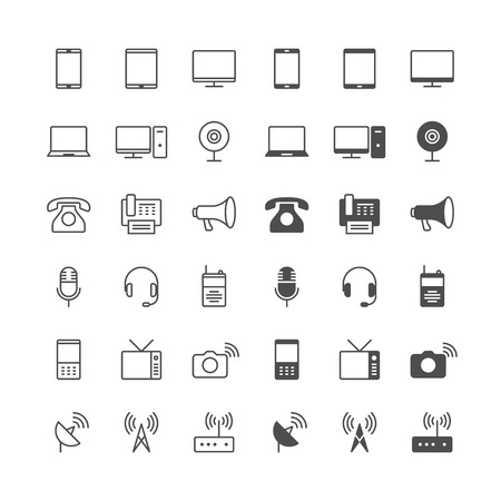 device: Communication device icons, included normal and enable state.