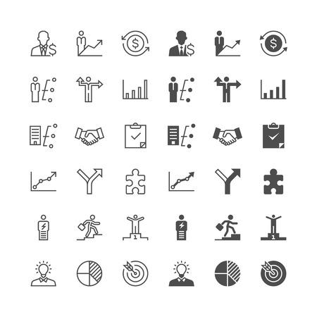 Business pictogrammen, inclusief normale en mogelijk te maken staat. Stock Illustratie