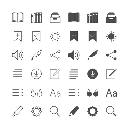 ebook reader: E-book reader icons, included normal and enable state.