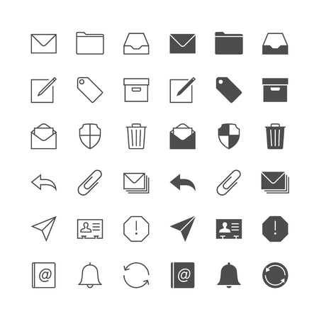 synchronize: Email icons, included normal and enable state. Illustration