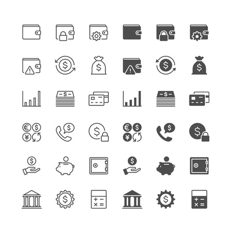 business icon: Financial management icons, included normal and enable state.
