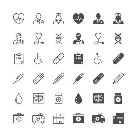 thin: Health care icons, included normal and enable state. Illustration