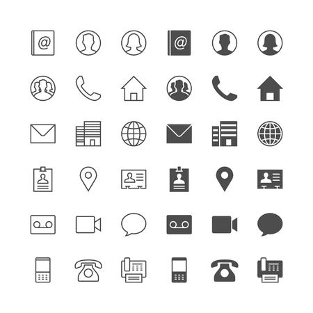 Ikony kontaktów, włączone normalne i włączenie stanu.