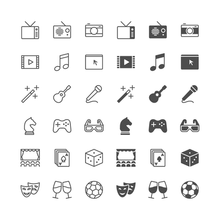 enable: Entertainment icons, included normal and enable state. Illustration