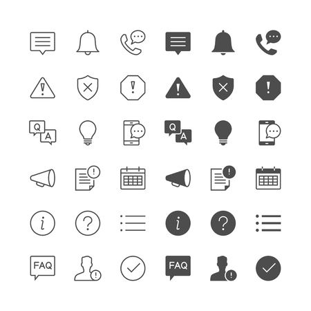 Information and notification icons, included normal and enable state. Vectores