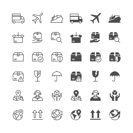 Logistics and shipping icons, included normal and enable state.