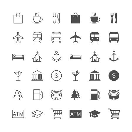 Plattegrond en locatie iconen, inclusief normale en mogelijk te maken staat. Stock Illustratie