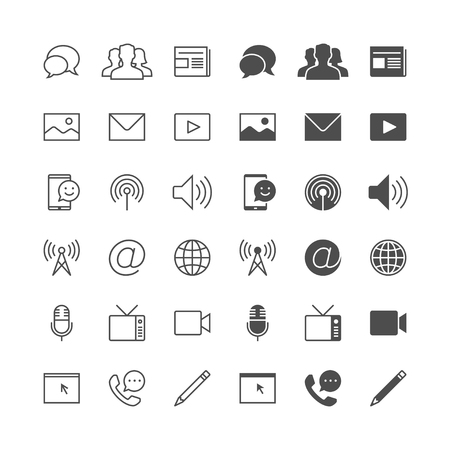 Media and communication icons, included normal and enable state. Illustration