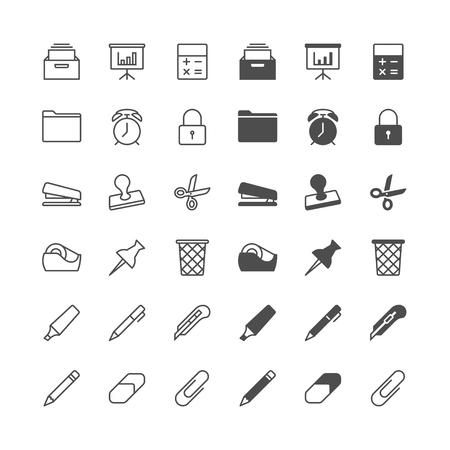 grapadora: Equipos de oficina iconos, incluidos normal y permiten estado. Vectores