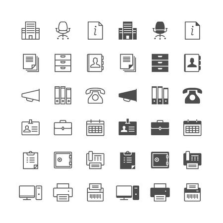 Office supplies icons, included normal and enable state.