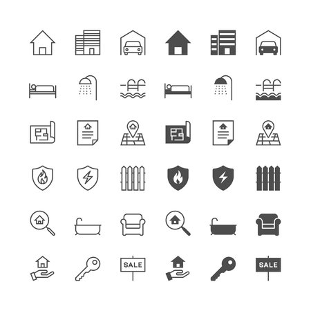 Real estate icons, included normal and enable state.