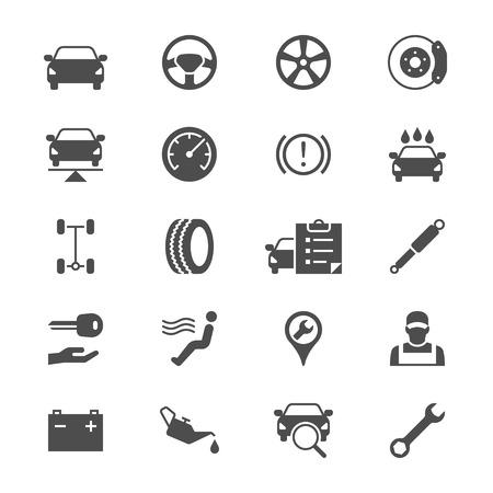Auto service flat icons