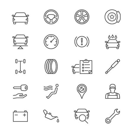 Auto service thin icons