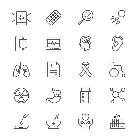 caution chemistry: Health care thin icons