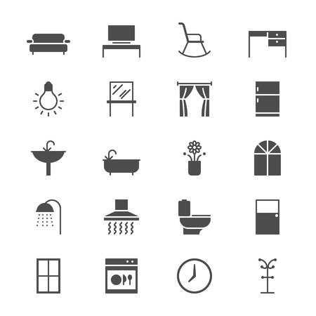 Home meubilair plat pictogrammen