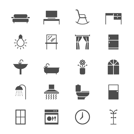 Home furniture flat icons Illustration