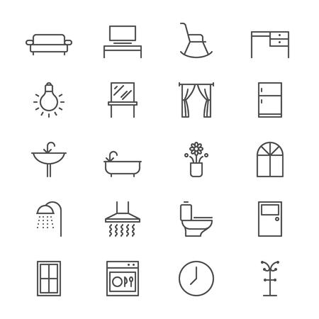 Huismeubelen dunne iconen