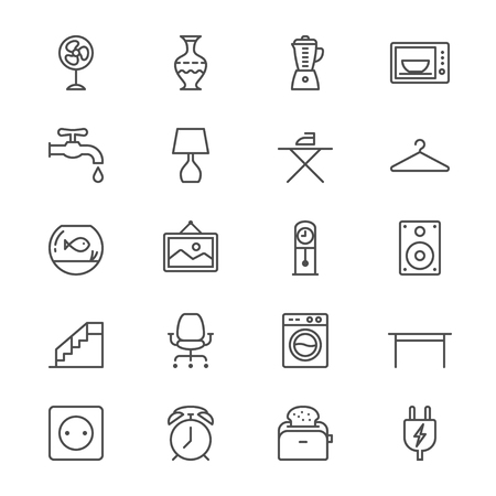 iron fan: Home furniture thin icons
