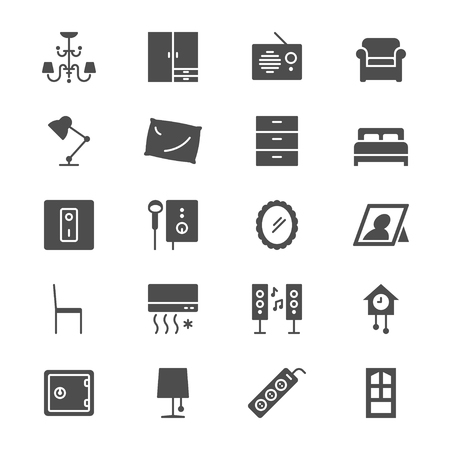 Home furniture flat icons 일러스트