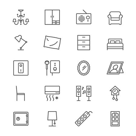 home furniture: Home furniture thin icons