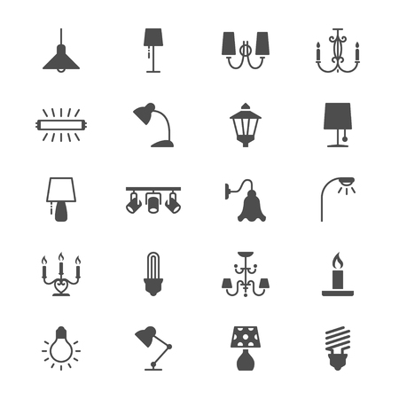 Light flat icons Ilustrace