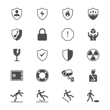 Safety flat icons Stock Vector - 79927492