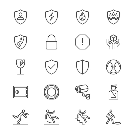 Safety thin icons