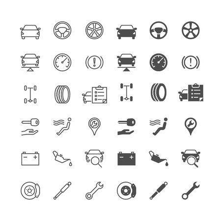 Auto service icons, included normal and enable state. Illustration