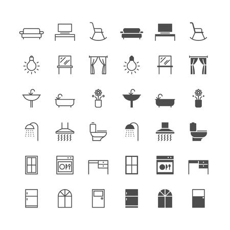 Pictogrammen voor huismeubilair, inclusief normaal en status inschakelen.