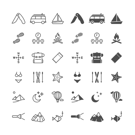Traveling thin icons, included normal and enable state. Stock Illustratie