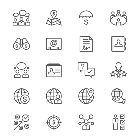 Business thin icons Illustration