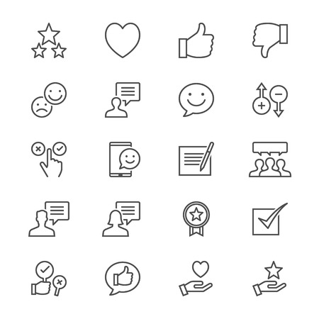 okey: Feedback and review thin icons Illustration