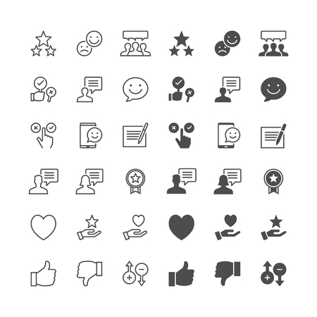 Feedback and review icons, included normal and enable state. Çizim