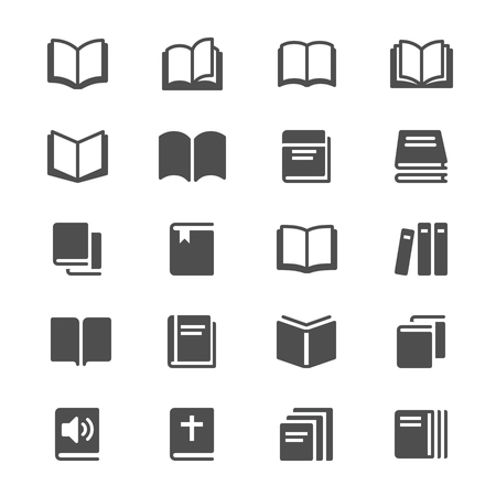 Book glyph icons vector illustration.