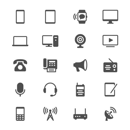 Communication device glyph icons Vectores