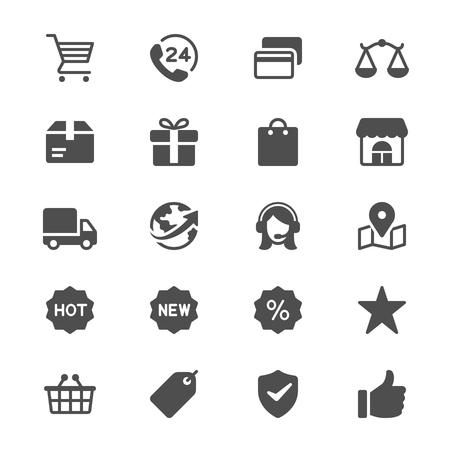 E-Commerce-Glyphenikonen-Vektorillustration.