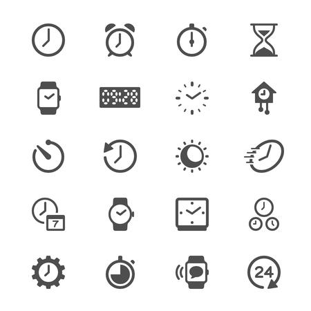時間と時計のグリフ アイコン  イラスト・ベクター素材